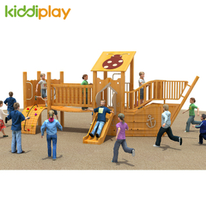 Wooden Slide Series Outdoor Playground Equipment with Climbing Wall