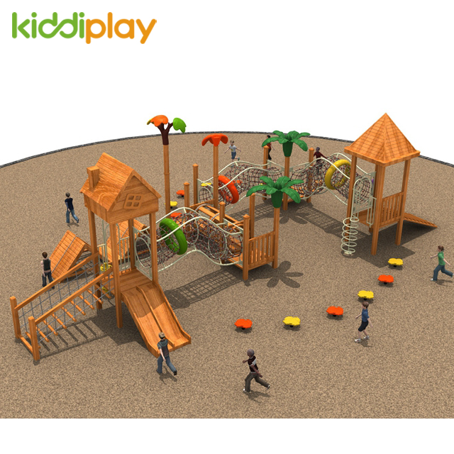 2018 Popular Kids Commercial Fun Gym Wood Outdoor Playground