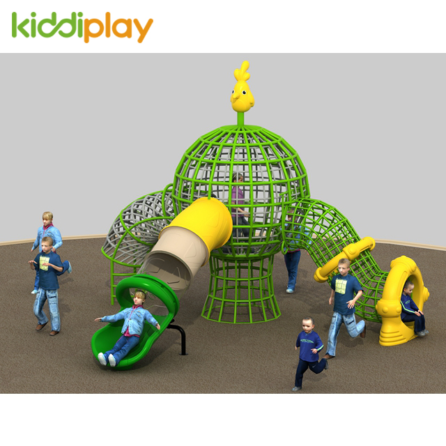 Small amusement park climbing rope course playground