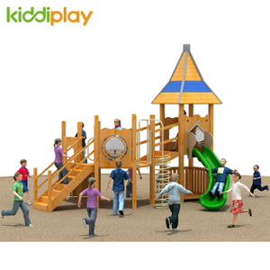 Children Wooden Series Outdoor Playground Equipment Climbing Nets Tunnel Slide