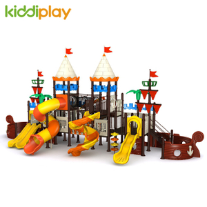 Attractive Design Outdoor Plastic Playground Slides for Garden Pirate Ship Series