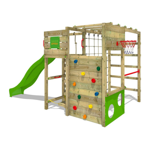 Wooden Outdoor Garden Forest Play Structure Wood Slide Set for Kids