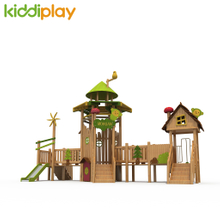 New Design Children Outdoor Wooden Playground Equipment with Slide And Play House