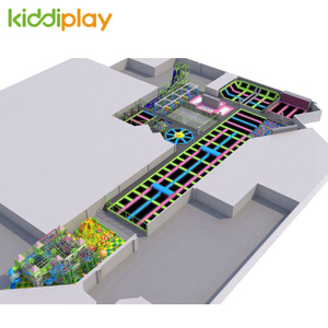 KD11052A Ninja Course Parkour Naughty Castle Building Blocks Center Children Big Indoor Trampoline Park