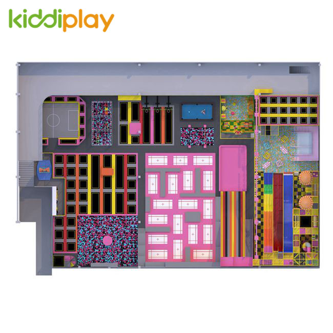 KD11071A Colorful And Warm Tone Series Indoor Playground Popular Large Trampoline Park