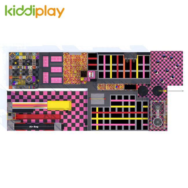 KD11061A Colorful Indoor Playground Free Jump Climbing Wall Foam Pit Trampoline Park Center