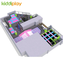 KD11045B Ninja Course Slam Dunk Area Foam Pit Spider Tower Climbing Wall Jumping Trampoline Park Center